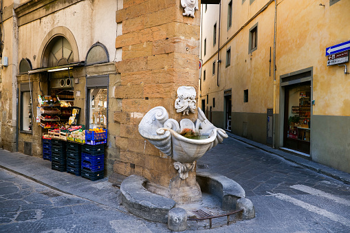 The famous and characteristic Fontana dello Sprone in the historic heart of Florence in Tuscany