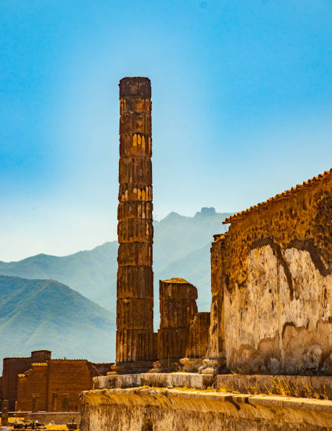The famous antique site of Pompeii, near Naples. stock photo
