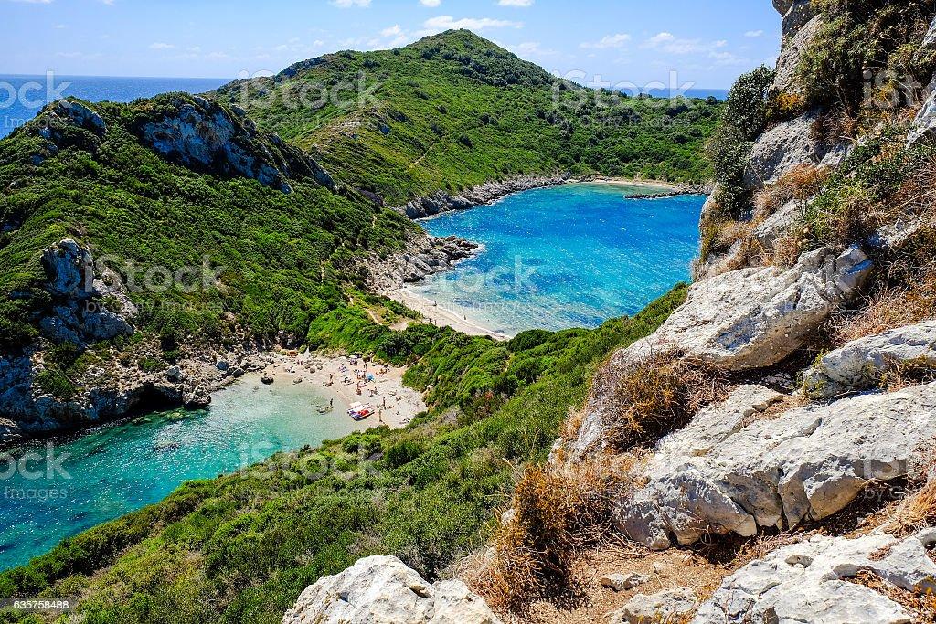 The famous beach Porto Timoni in Corfu island Kerkyra, Greece stock photo