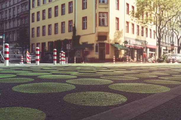 the famous Bergmann street with green dots, Berlin Kreuzberg stock photo