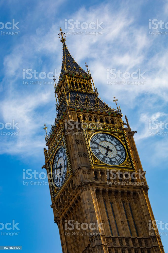 The famous 'Big Ben' clock tower in London, UK, before the current four-year renovation work began. stock photo