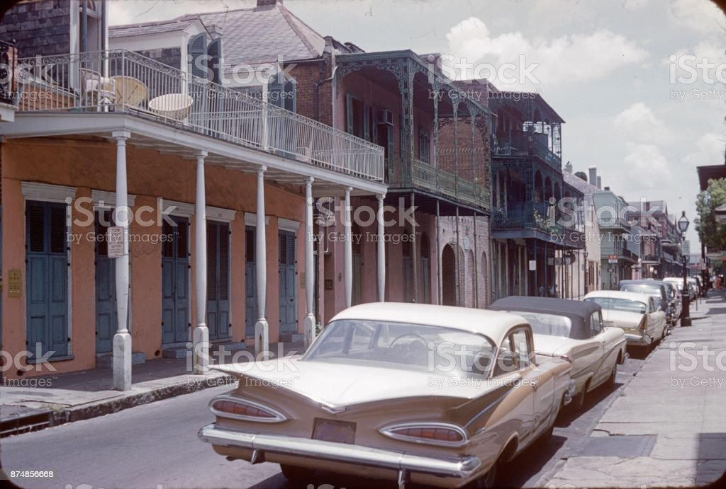 The famous Bourbon Street in New Orleans, 1960 stock photo