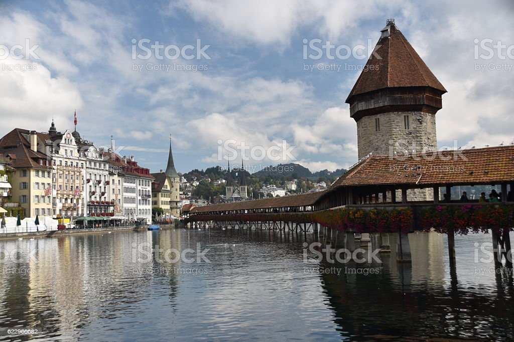 The famous bridge in Lucern stock photo