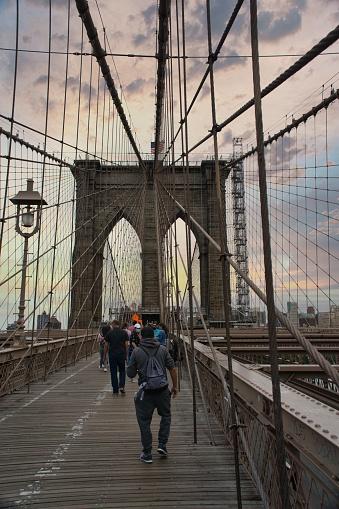 The famous Brooklyn Bridge in New York City