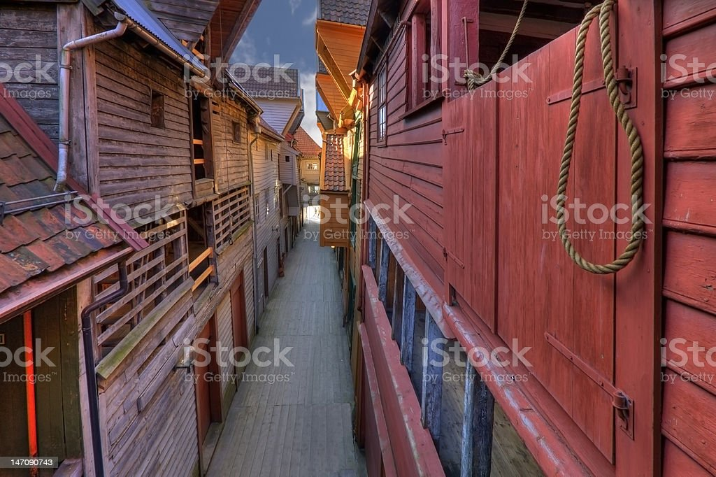 The famous Bryggen in Bergen, Norway. Colorful wooden houses. UN The famous Bryggen in Bergen, Norway. Colorful wooden houses. UNESCO World Heritage Site. Architecture Stock Photo