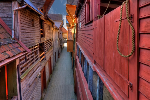 The Famous Bryggen In Bergen Norway Colorful Wooden Houses Un Stock Photo - Download Image Now