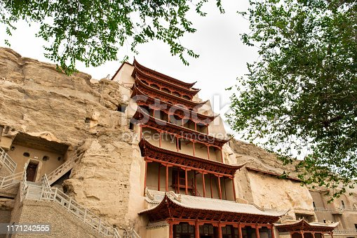 The famous Buddhist sculpture Grottoes in China, named Mogao Grottoes, have a long history in Gansu Province, China.