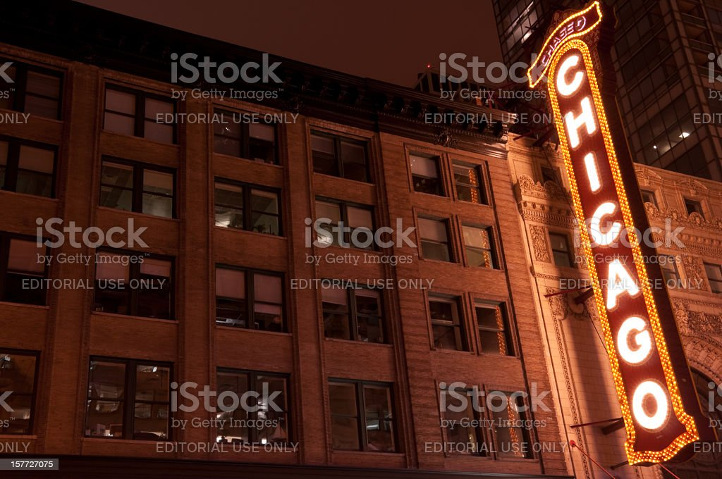 The Famous Chicago Marquee Theater Sign royalty-free stock photo