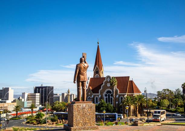 The famous Christ Church in Namibia's capital Windhoek stock photo
