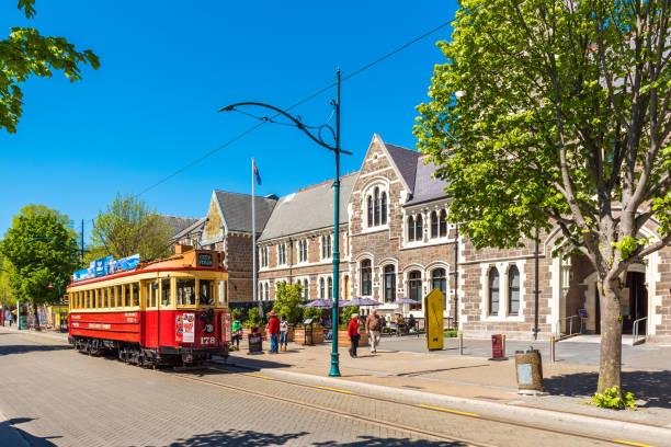 Die berühmte klassische Straßenbahn auf der Straße, Christchurch, Neuseeland. – Foto