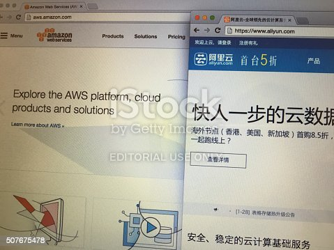 Beijing, China - January 28, 2016: Screenshot of the homepages of AWS(amazon) vs. Aliyun(alibaba).AWS and Aliyun are the leading cloud computing platforms by most enterprises or people around the world and China.