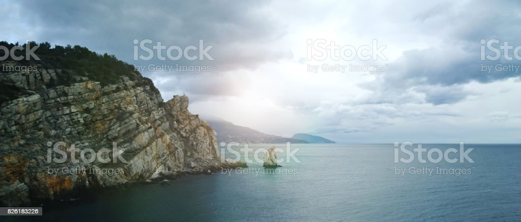 The famous Crimean view of the rock sail close to the Swallow's nest castle stock photo