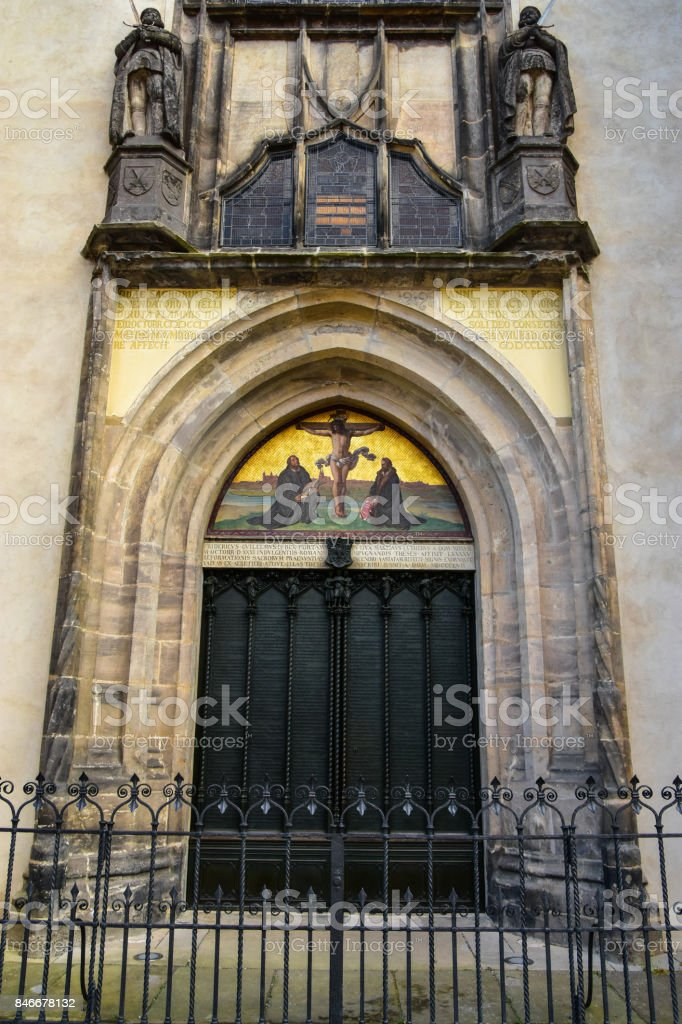 The famous door at the All saint's Church stock photo