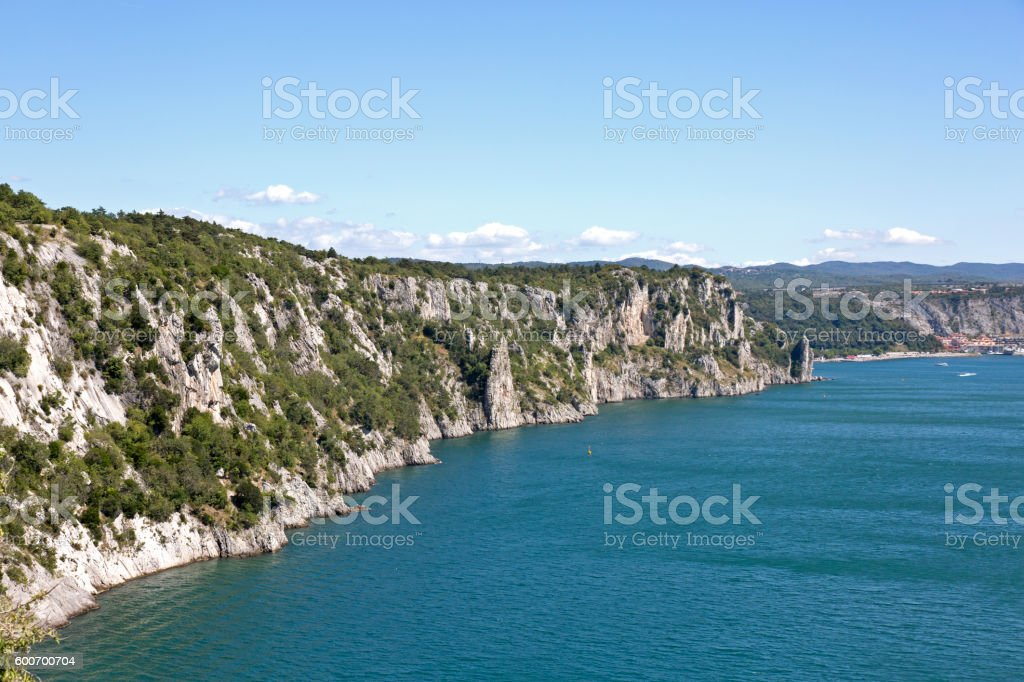 The famous Duino cliffs, Trieste, Italy stock photo