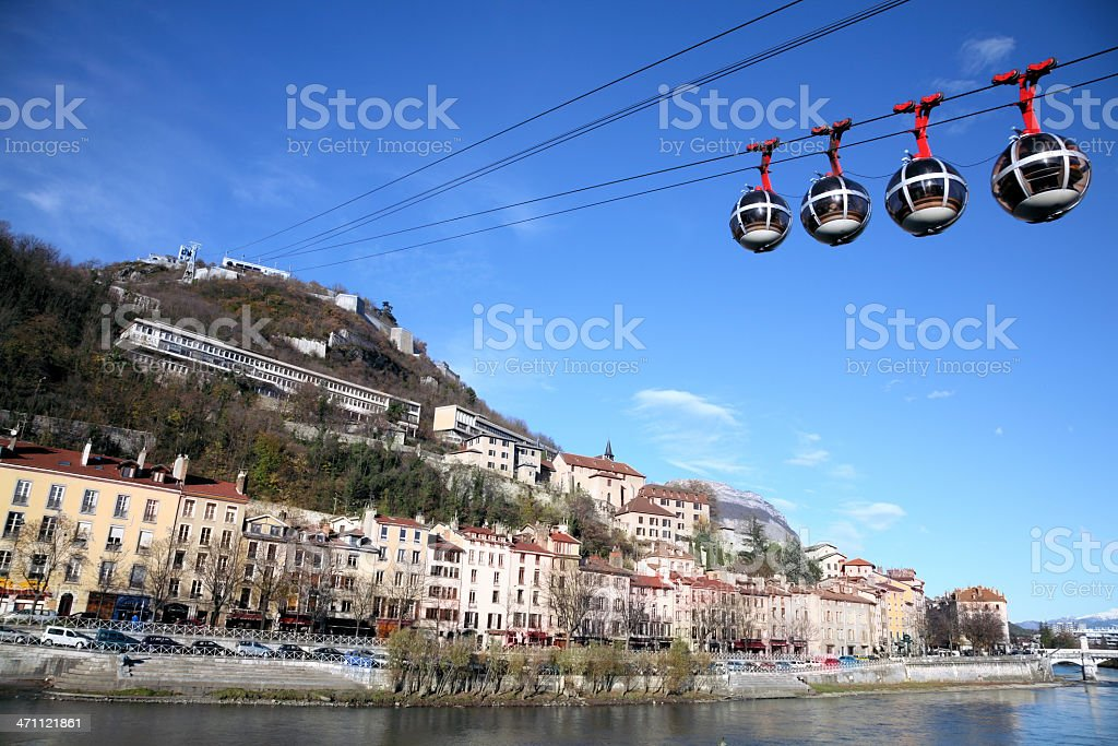 The famous egg shaped cable car of Grenoble stock photo