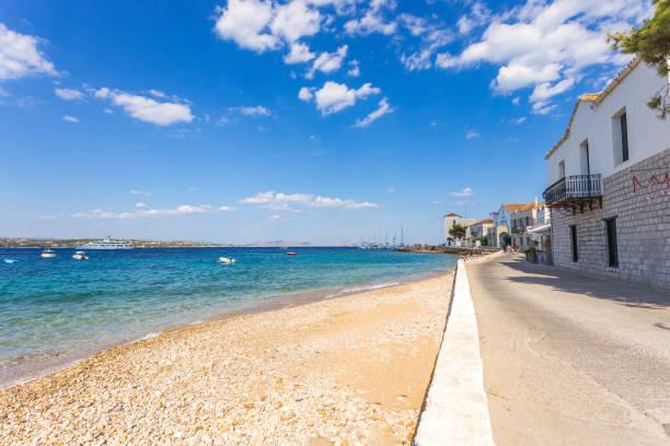 The famous embankment of Spetses island, Greece stock photo