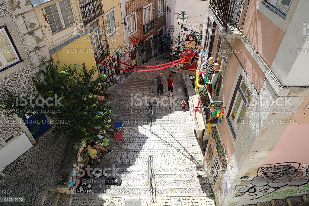 The famous Fado Vadio Graffiti in Lisbon. Portugal stock photo