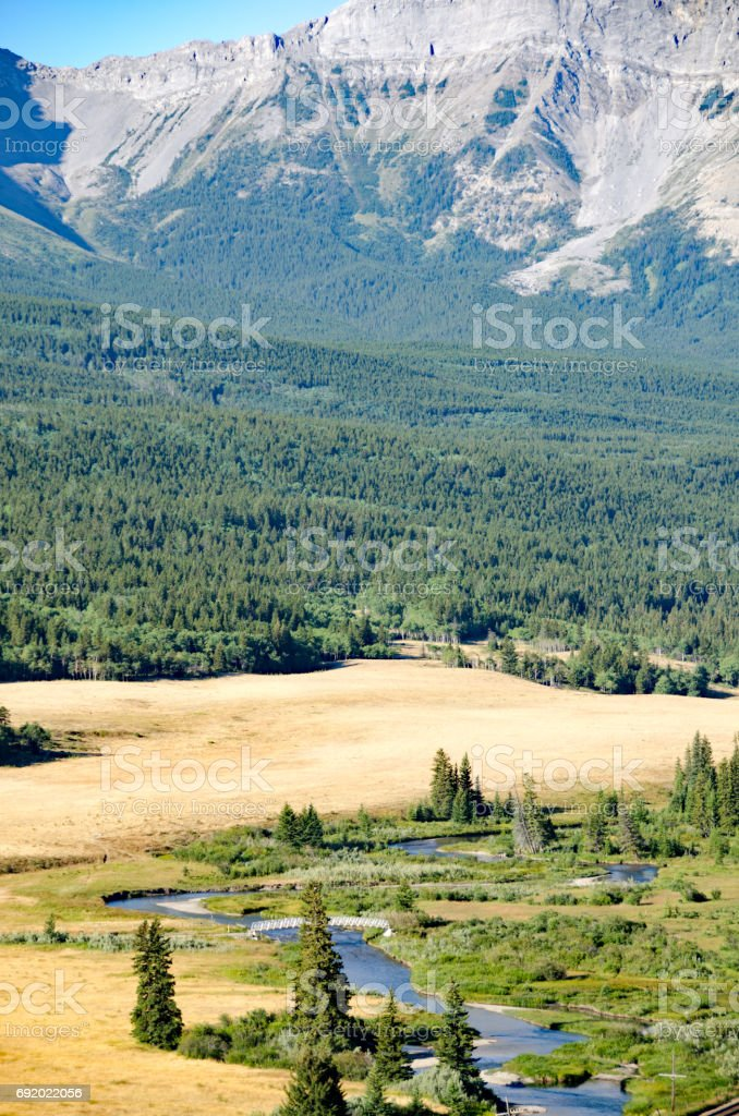 The famous fishing river, the Crowsnest, Alberta stock photo