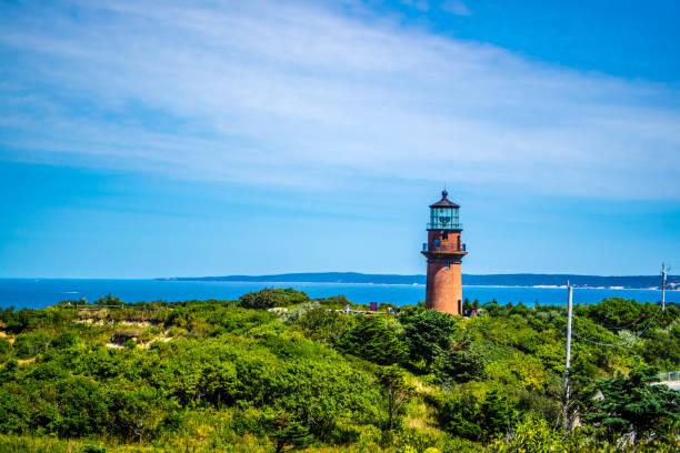 The famous Gay Head Light in Cape Cod Martha's Vineyard, Massachusetts stock photo