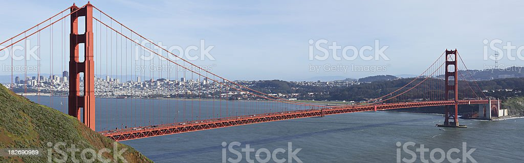 The famous Golden Gate Bridge, located in San Francisco bay  royalty-free stock photo