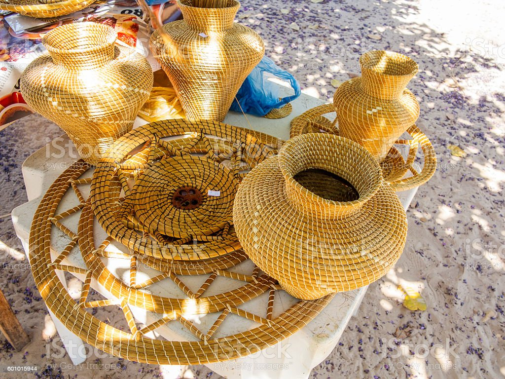 The famous handicrafts made with the local 'capim dourado' stock photo