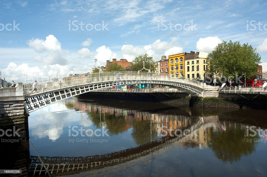 The famous Ha'penny bridge in Dublin Ireland stock photo