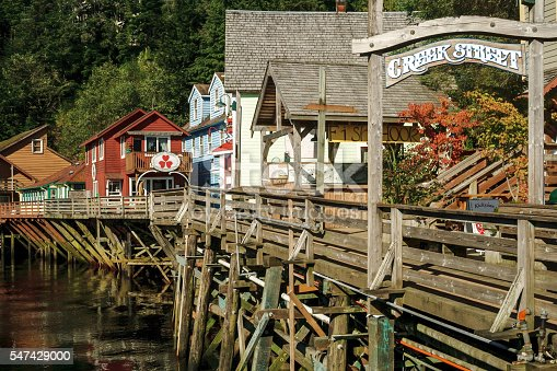 The famous historic Creek Street, formerly brothels, home of the famous Dolly the madam, in Ketchikan Alaska. A popular tourist shopping destination, especially for cruise ships.