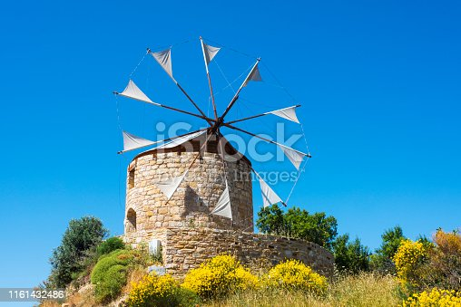 The famous historical stone windmills in island of Chios (Sakiz Adasi), Greece