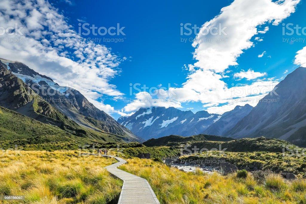 Die berühmte Landschaft von Hooker Valley Track am Mt Cook National Park in Neuseeland. – Foto