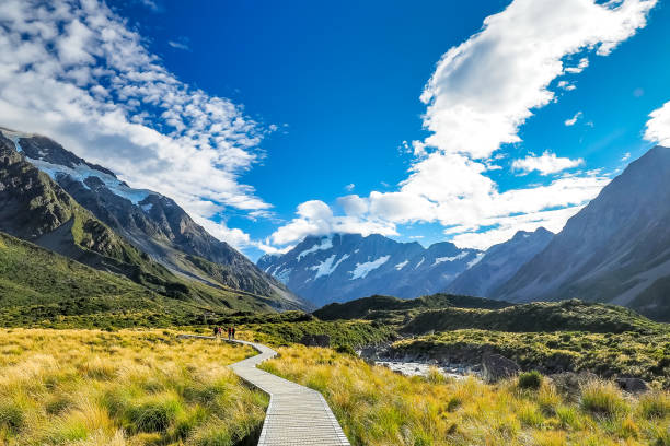 The famous landscape of Hooker Valley Track at Mt Cook National Park in New Zealand. stock photo