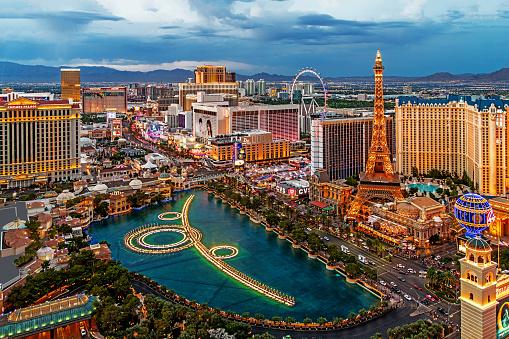 Las Vegas, USA - July 17, 2018 Panoramic view of Las Vegas strip at night in Nevada.