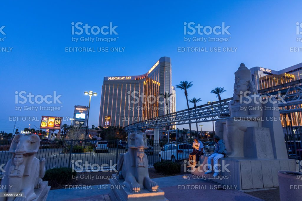 The Famous Luxor Pyramid Hotel In Las Vegas As Seen At Dusk Stock