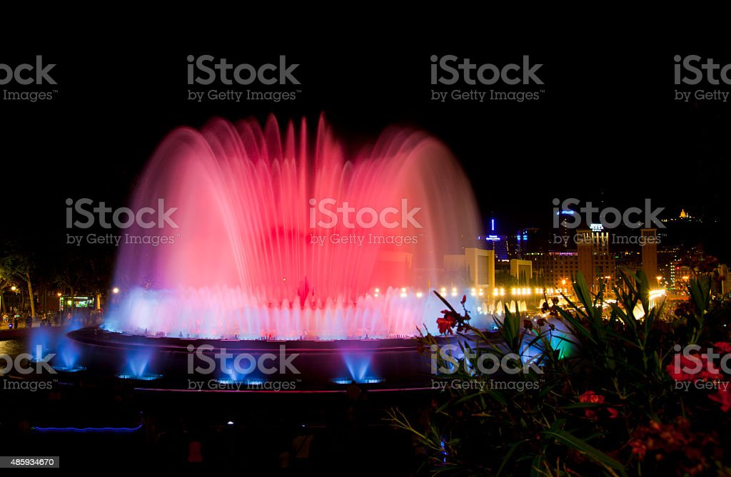 The famous Montjuic Fountain in Barcelona, Spain. stock photo