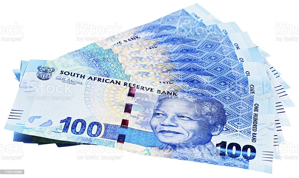 The famous Nelson Mandela smile on a sheaf of banknotes royalty-free stock photo