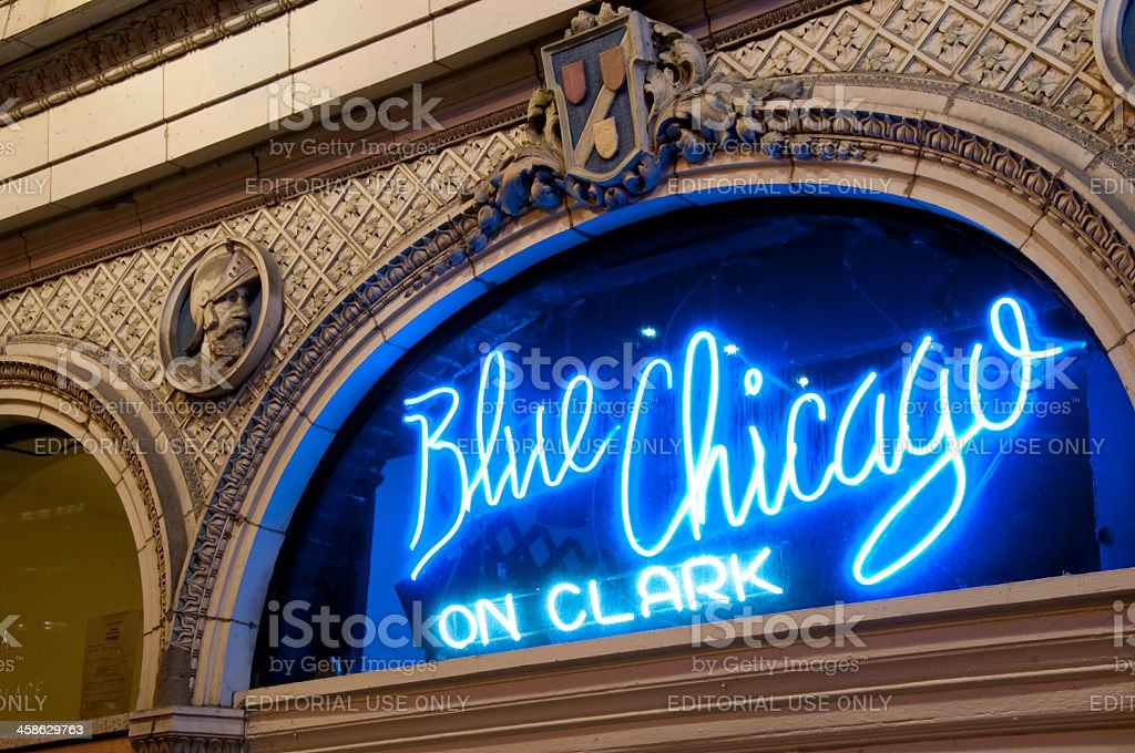 The Famous Neon Blue Chicago Blues Club Sign stock photo