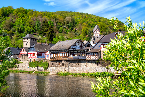 The famous Old Inn on the river Lahn in the old town of Dausenau. The inn is known for its joking or mocking poems.