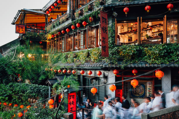 The famous old teahouse in Jiufen, Taiwan stock photo