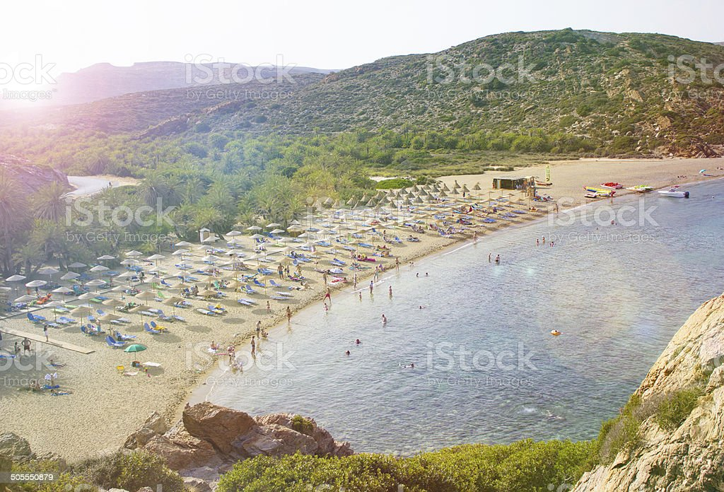 The famous palm forest and beach at Vai, east Crete stock photo
