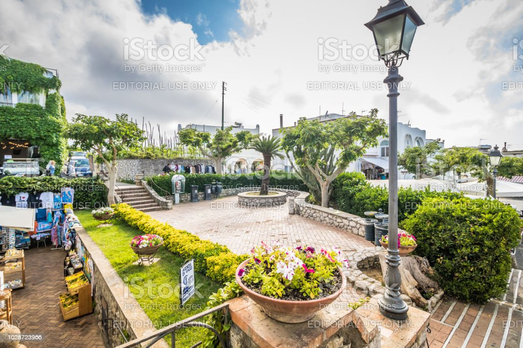 The Famous Piazza Vittoria in Anacapri on the island of Capri, Italy, captured in May 2018 - foto stock