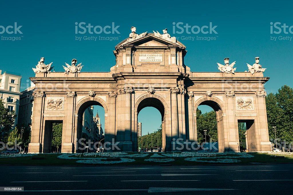 The famous Puerta de Alcala at Independence Square stock photo