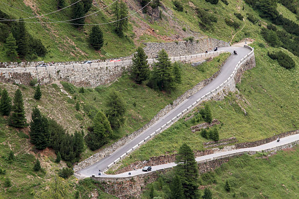 The famous road to Stelvio Pass stock photo