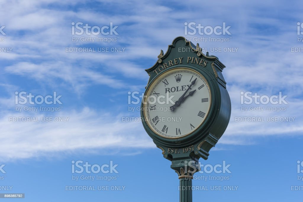 The famous Rolex clock on the first tee of Torrey Pines golf course near San Diego. stock photo