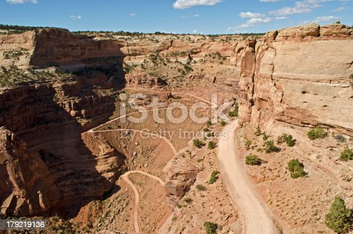The Shafer Trail is a red dirt road that winds down onto the White Rim in Canyonlands National Park near Moab, Utah