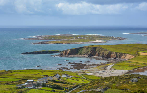 The famous Sky Road near Clifden, County Galway, Ireland stock photo