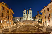 The famous Spanish Steps in Rome at night with no people