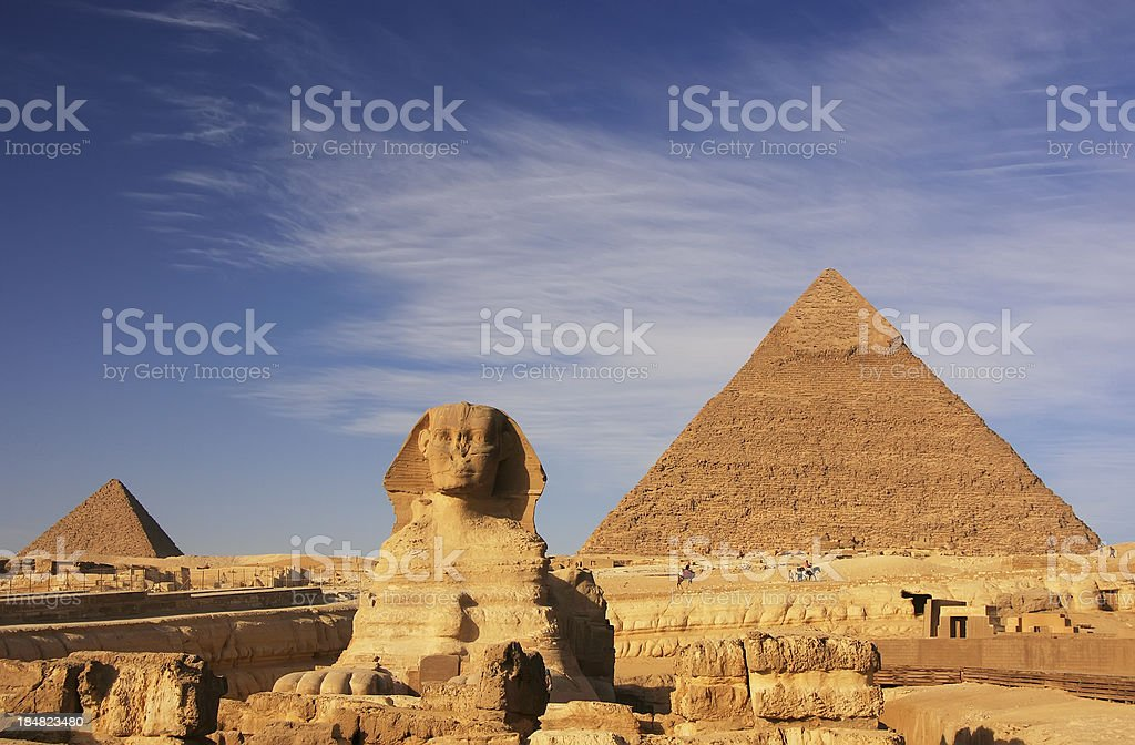 The famous Sphinx and the Pyramid of Khafre in Cairo, Egypt royalty-free stock photo