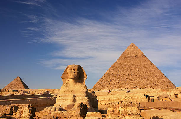 The famous Sphinx and the Pyramid of Khafre in Cairo, Egypt stock photo