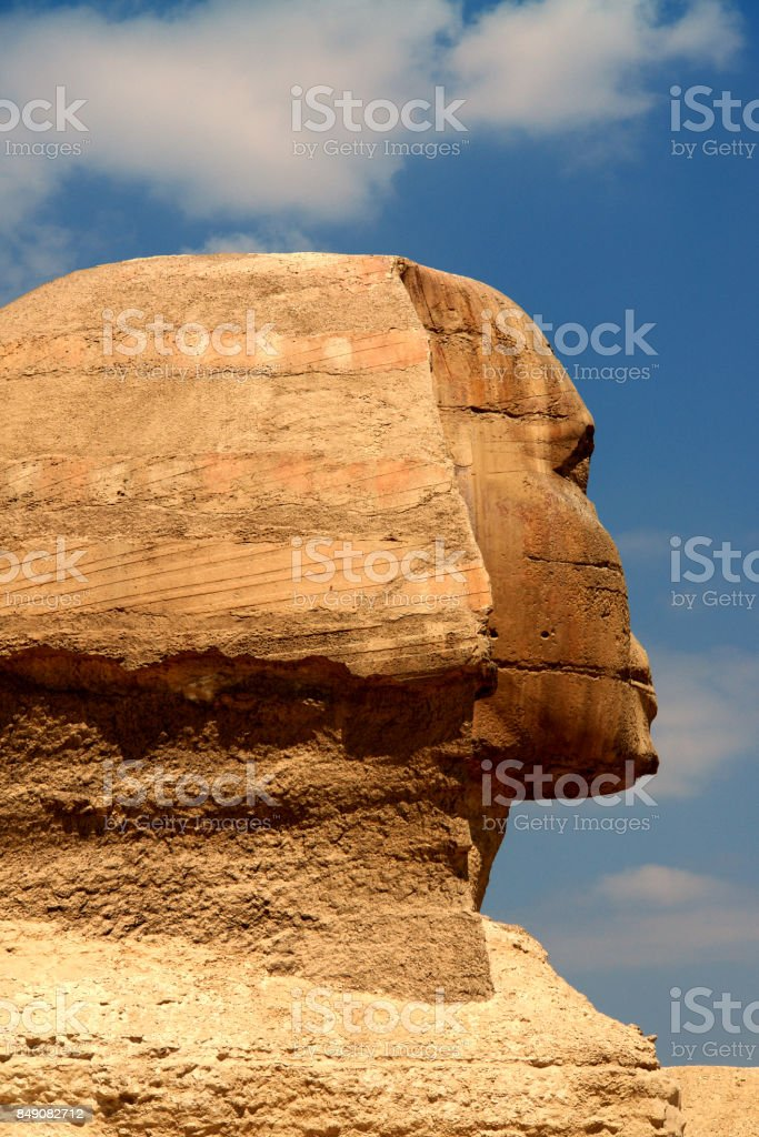 The Famous Sphinx of Cairo at the Pyramids of Egypt Giza stock photo