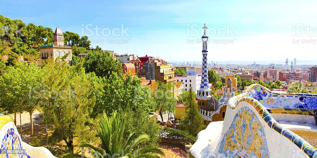 The Famous Summer Park Guell over bright blue sky stock photo