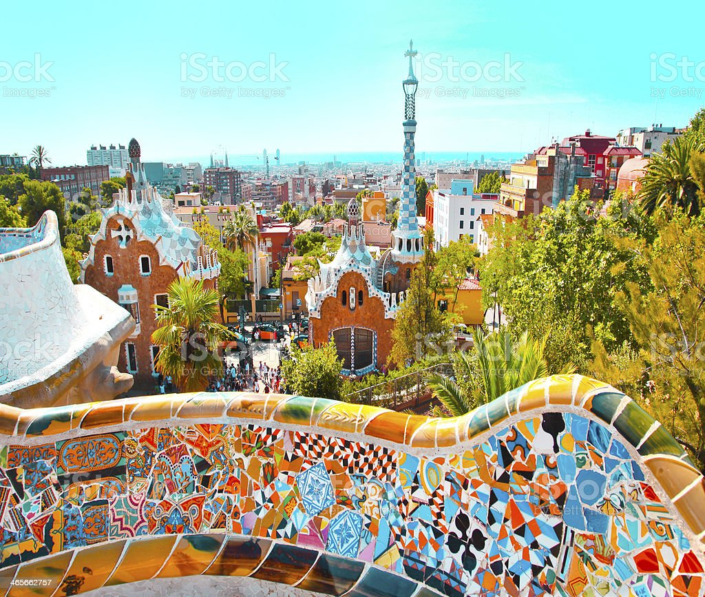 The Famous Summer Park Guell stock photo